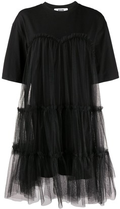 MSGM flared tulle T-shirt dress