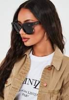 Missguided Quay Australia Icy Brown Mock Tortoiseshell Stud Sunglasses