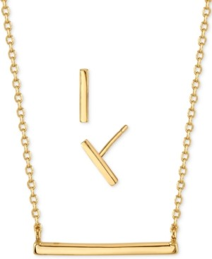 Unwritten 2-Pc. Set Mini Polished Pendant Necklace & Stud Earrings in Gold-Tone, Created for Macy's