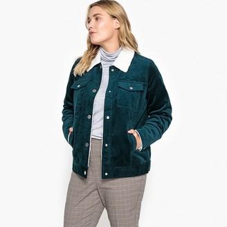 Castaluna Plus Size Corduroy Faux Sheepskin Aviator Jacket