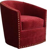 Horchow Bryn St. Clair Red Velvet Swivel Chair