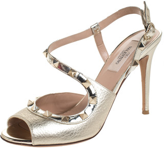 Valentino Gold Leather Rockstud Cross Strap Sandals Size 37