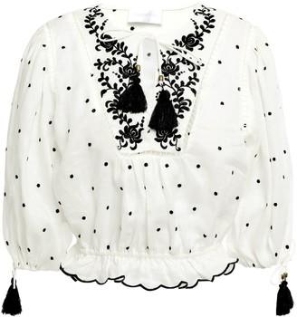 Zimmermann Tassel-trimmed Embroidered Linen Blouse