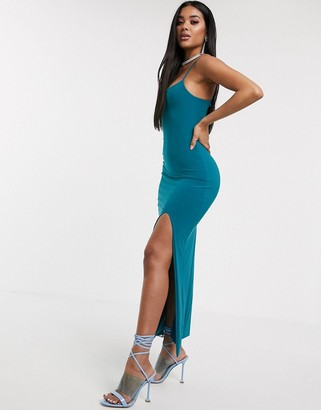 Aym Studio AYM Premium cami strap maxi dress with thigh split in teal
