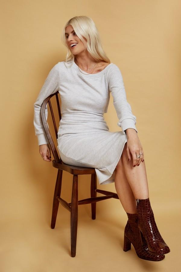 Thumbnail for your product : Little Mistress Alec Grey Slash-Neck Midi Sweatshirt Dress