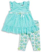 Nannette Baby Girls Lace-Trimmed Dress & Leggings Set