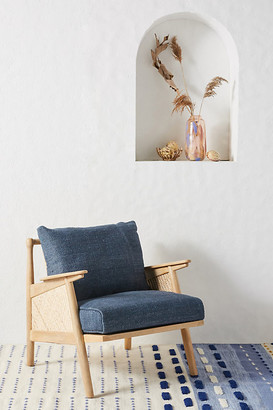Anthropologie Linen Cane Chair By in Blue Size ALL