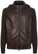 Canali Knit Panel Leather Jacket