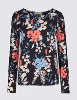 Marks and Spencer Floral Print Twist Neck Long Sleeve T-Shirt