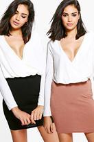 boohoo Eletta 2 Pack Basic Jersey Mini Skirt tan