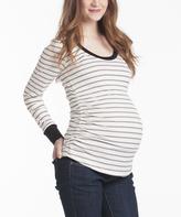 White & Black Stripe Hailey Long-Sleeve Maternity Top