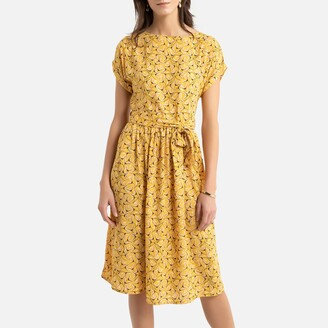 Anne Weyburn Flared Midi Dress in Floral Print