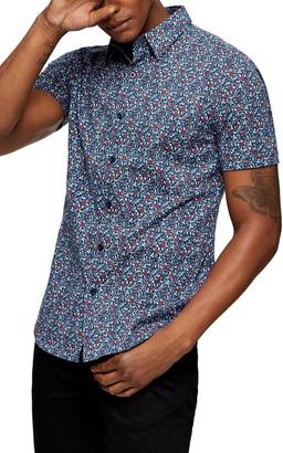 Topman Floral Short Sleeve Button-Up Shirt