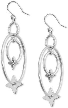 Lucky Brand Silver-Tone Star Orbital Oval Drop Earrings