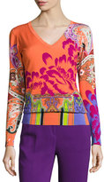 Etro Stampa Paisley V-Neck Sweater, Orange/Purple