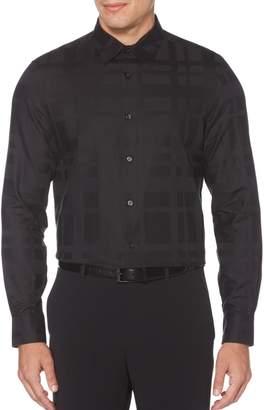 Perry Ellis Dressy Essentials Regular-Fit Plaid Sateen Dress Shirt
