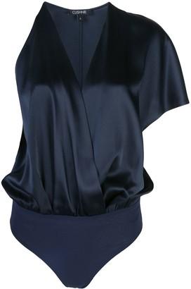 Cushnie one shoulder v-neck bodysuit