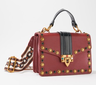 Izzy K Faux Leather Studded Satchel with Removable Crossbody Strap
