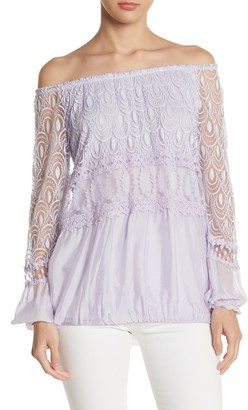 Lola Made In Italy Off-the-Shoulder Embroidered Blouse