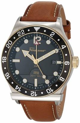 Salvatore Ferragamo Stainless Steel Analog Quartz Watch with Fine Silver Strap Clear 19.5 (Model: 7630030546761)