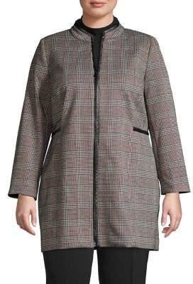 Kasper Plus Highneck Plaid Zip Jacket