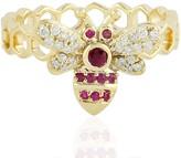 Artisan 14Kt Yellow Gold Bee Designs Ring Diamond Ruby Handmade Jewelry