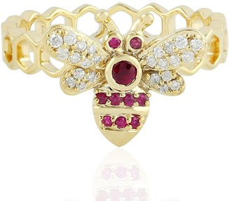 Artisan 14Kt Yellow Gold Bee Designs Ring Diamond Ruby Jewelry