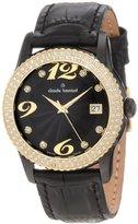Swarovski Claude Bernard Women's 61163 37NJP ND2 Ladies Fashion Gold PVD Black Leather Watch