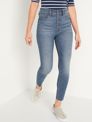 Old Navy Extra High-Waisted Button-Fly Rockstar 360 Stretch Super Skinny Cut-Off Ankle Jeans for Women
