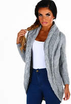 Pink Boutique Candy Darling Grey Cable Knit Cardigan