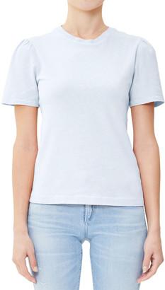 Citizens of Humanity Hannah Crewneck Puff-Sleeve Cotton T-Shirt