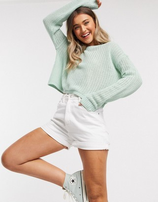 Hollister puff sleeve sweater in mint