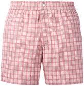 Brioni checked swimming shorts