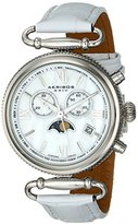 Akribos XXIV Women's AK754SSW Swiss Chronograph Quartz Movement Watch with White Mother of Pearl Dial and White Leather Calfskin Strap