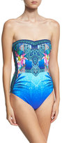 Gottex Oahu Bandeau One-Piece Swimsuit, Blue/Multicolor