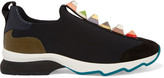 Fendi Embellished Suede And Lizard-effect Leather-trimmed Neoprene Sneakers - Black