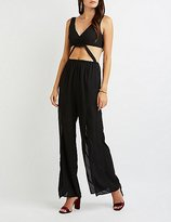 Charlotte Russe Surplice Cut-Out Split Leg Jumpsuit