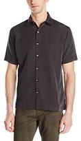 Van Heusen Men's Short Sleeve Rayon Poly Engineered Panel Shirt