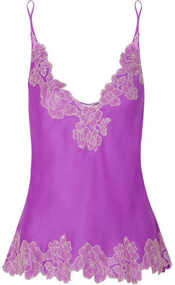 Carine Gilson Chantilly Lace-trimmed Silk-satin Camisole - Magenta