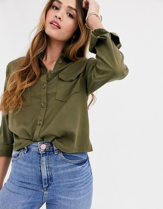 New Look patch pocket shirt in khaki
