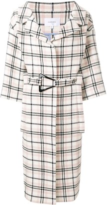 Carven Belted Check Coat