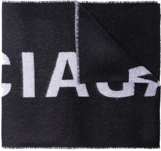 Balenciaga black large logo wool scarf