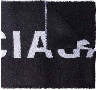 Balenciaga Black Large Logo Wool Scarf