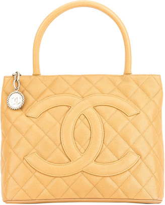 Chanel Beige Quilted Caviar Leather Medallion Tote