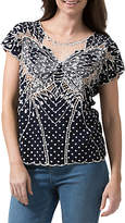 Sugarhill Boutique Butterfly Embroidered Polka Dot Top, Navy