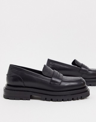 ASOS DESIGN Montana premium leather chunky loafers in black