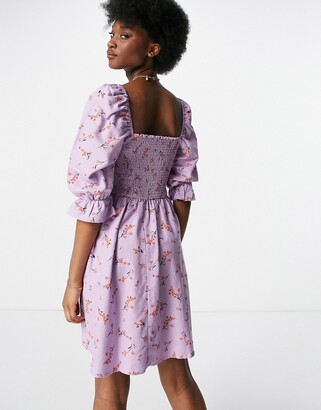 New Look shirred mini dress in lilac floral