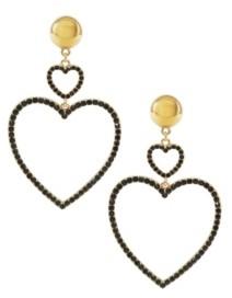 Ettika Double Crystal Heart Earrings