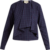 Sea Long-sleeved varsity-plaid cotton top