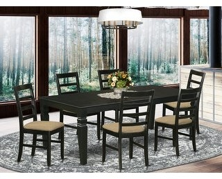 East West Furniture Kitchen table set with a Dining Table and a Set of Kitchen Chairs with Linen Fabric Seat